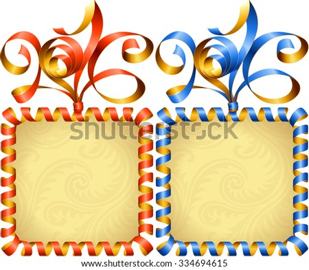 Vector New Year 2016 square frame set. Red and blue streamer - stock vector