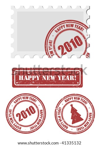 vector new year stamp and postmark - stock vector