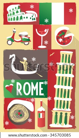 vector new year theme poster ITALY - stock vector