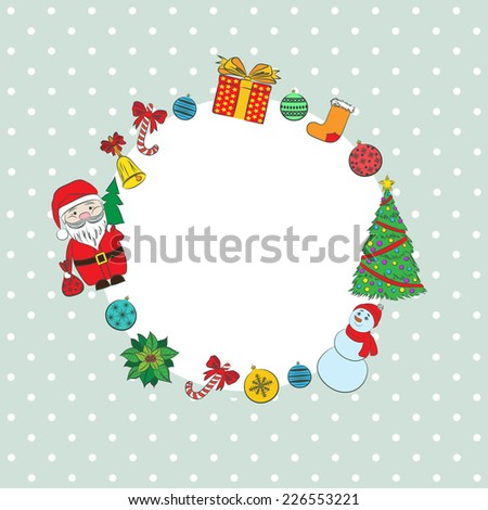 Vector 2015 New year vintage invitation. Vector retro background cute Santa Claus, Snowman, Christmas tree for your design. Suitable for various designs, invitation, thank you card and scrapbooking - stock vector