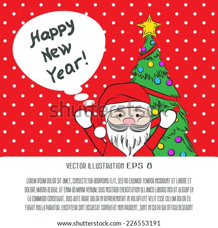 Vector 2015 New year vintage invitation. Vector retro red background cute Santa Claus and Christmas tree for your design. Suitable for various designs, invitation, thank you card and scrapbooking - stock vector