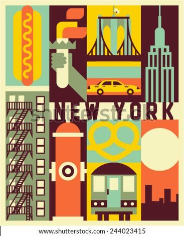 Vector New York background - stock vector