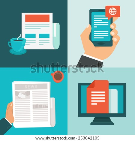 Vector news concepts in flat style - newsletter and message app - mobile phone and computer - stock vector
