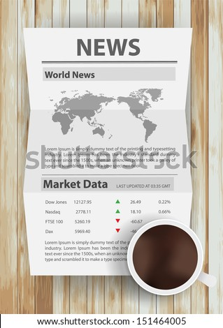 Vector newspaper on table - stock vector