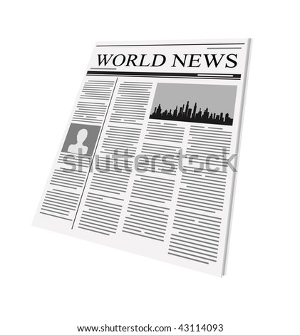 vector newspaper on white background - stock vector