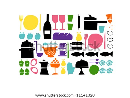 vector - nice background with design set element theme food and cooking - stock vector