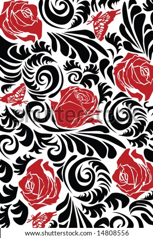 vector - nice floral wallpaper with design element - stock vector