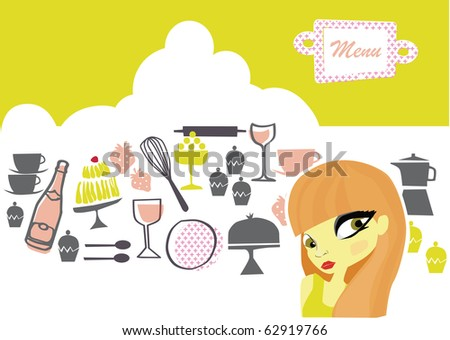 vector - nice graphic set about tea time with a beautiful cartoon girl in the front - stock vector