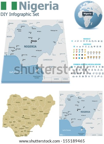 Nigeria map stock images royalty free images vectors shutterstock vector nigeria maps nigeria flag earth globe showing country location map markers and sciox Choice Image