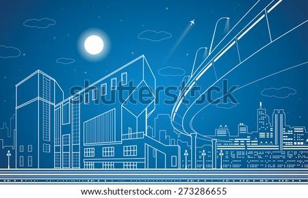 Vector nigh town, architecture, lines design, city infrastructure, overpass, vector bridge  - stock vector