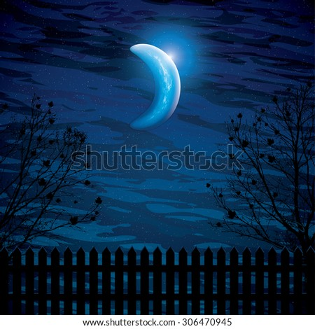 Vector night background with tree branches and the half moon - stock vector