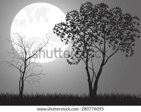 Vector night background with tree branches and the moon - stock vector