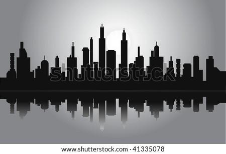 vector night city - stock vector