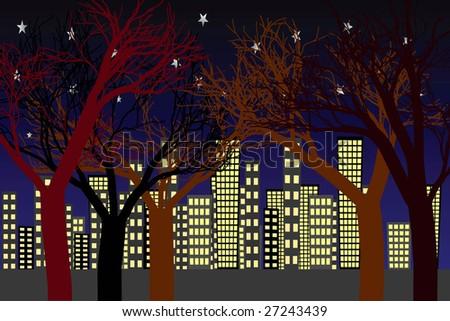 vector night city scape - stock vector