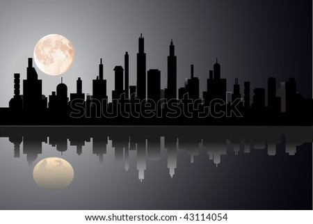 vector night city with  moon - stock vector