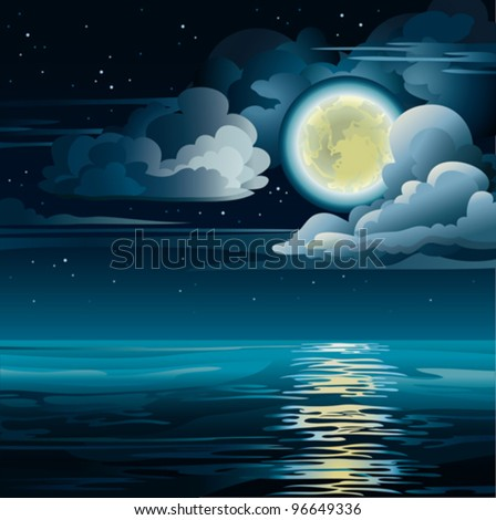 Vector night cloudy sky with yellow moon, stars and calm sea - stock vector