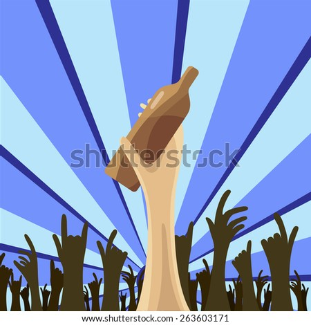 vector night disco, music party drink and crowd - stock vector