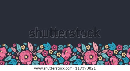 Vector Night Kimono Blossom Horizontal Seamless Pattern Background Ornament with vibrant Asian style flowers on black background - stock vector