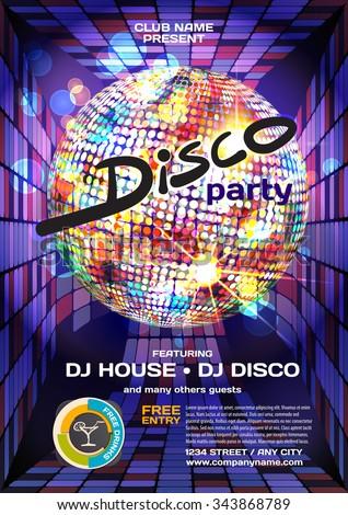 Vector night party invitation disco style. Vector template graphic. - stock vector