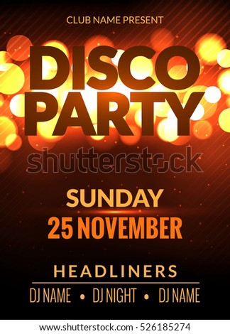 Disco Flyer Template Music Disco Party Flyer Design Vector Disco