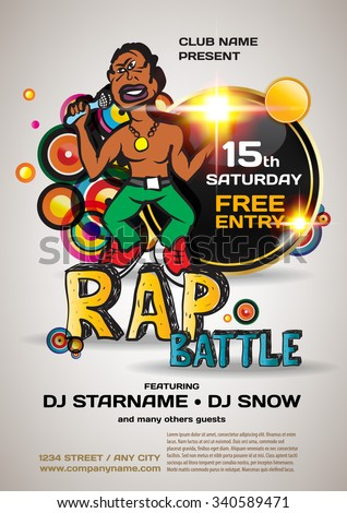 Vector night party rap battle invitation. Vector template graphic with african american with a microphone. - stock vector