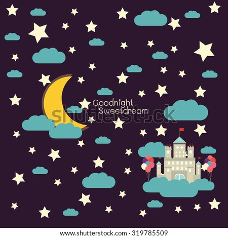 vector night sky, moon and stars, balloons and castle.  - stock vector