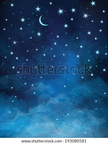 Vector night starry sky. - stock vector