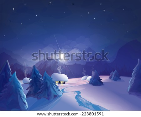 Vector night  winter scene. - stock vector