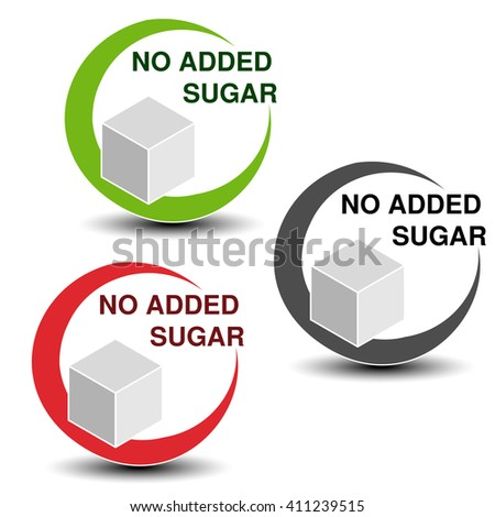 Vector no added sugar symbols isolated on white background. Silhouettes cube of sugar in a circle with shadow.