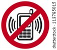 vector no cell phone sign (warning sign indicating cell phones not allowed, sign not to talk by phone) - stock photo
