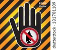 Vector : No Fishing Prohibited Sign Present By Hand With No Fishing Sign Inside in Caution Zone Dark and Yellow Background - stock photo