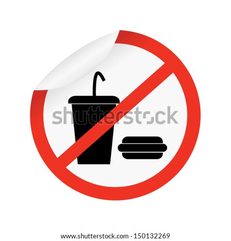 Vector : No Food and Drink on circle Sign Isolate on White Background