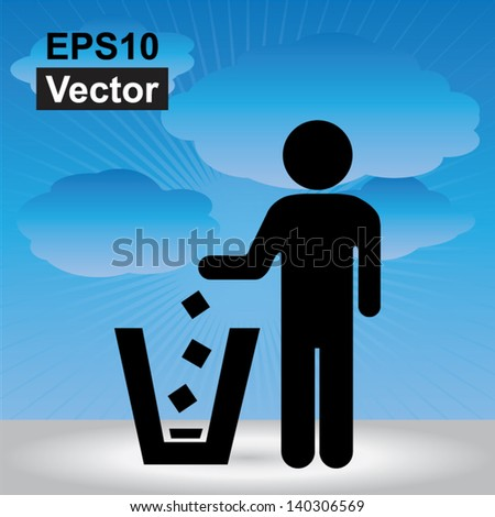 Vector : No Littering, Please Use A Trash Can or Please Keep Area Clean Concept Present By No Littering Sign in Blue Sky Background - stock vector