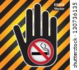 Vector : No Smoking Are Not Allowed Prohibited Sign Present By Hand With No Smoking in This Area Sign Inside in Caution Zone Dark and Yellow Background - stock photo