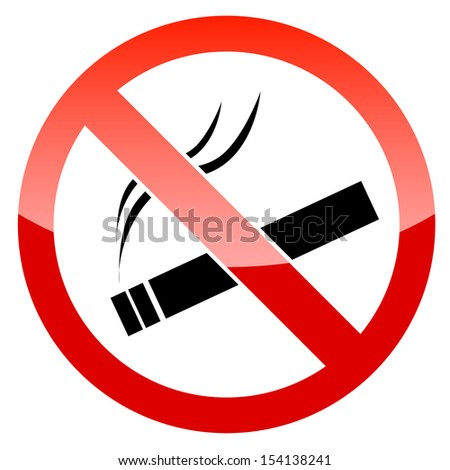 Vector No Smoking Sign on white background - stock vector