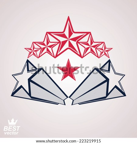 Vector noble corporate brand 3d symbol. Web and graphic design heraldic emblem with five pentagonal stars - detailed clear eps8 template. Celebration idea.