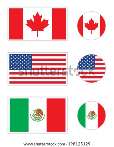 Vector North American flag and icon set - stock vector