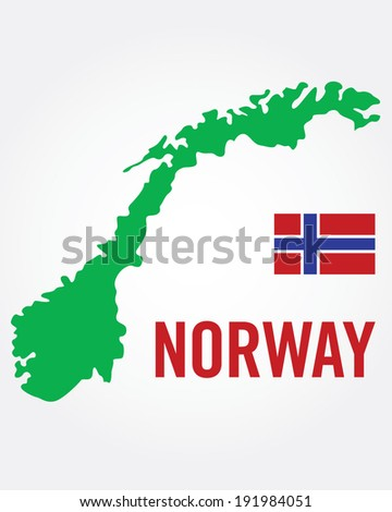 Vector Norway Flag and Map Set - stock vector
