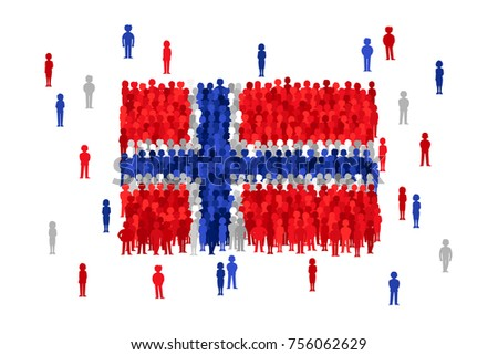 Vector Norway state flag formed by crowd of cartoon people