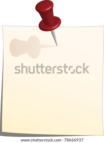 Vector note paper and thumbtack - stock vector
