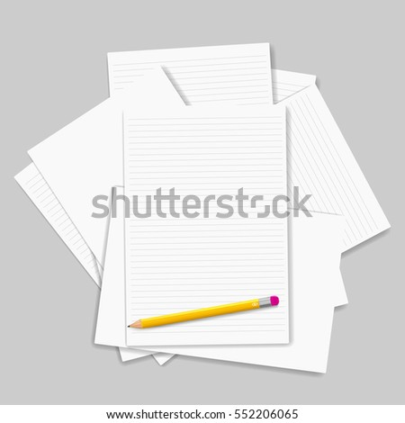 Vector Note Paper with pencil