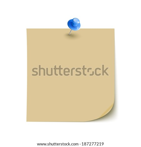 Vector Note Paper with pin on white background isolated - stock vector