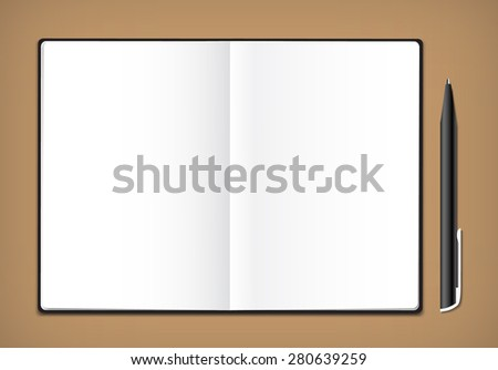Vector notebook and pen - stock vector