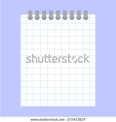 vector notebook into a cell on a blue background - stock vector