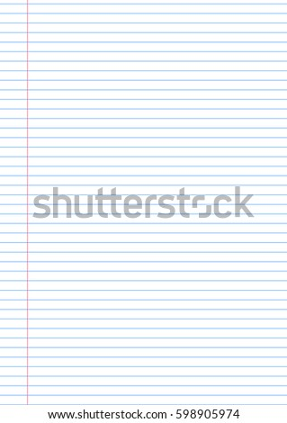 Vector Notebook Lined Paper Background Template Stock Vector 598905974    Shutterstock  Notepad Paper Template