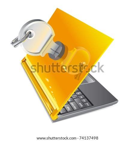 Vector Notebook Lockable - stock vector