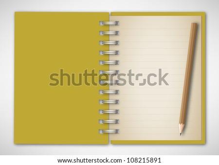 Vector Notebook with Pencil - stock vector