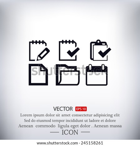 Vector Notepad paper Documents Icons set - stock vector
