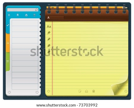 Vector notepad template (horizontal) - stock vector
