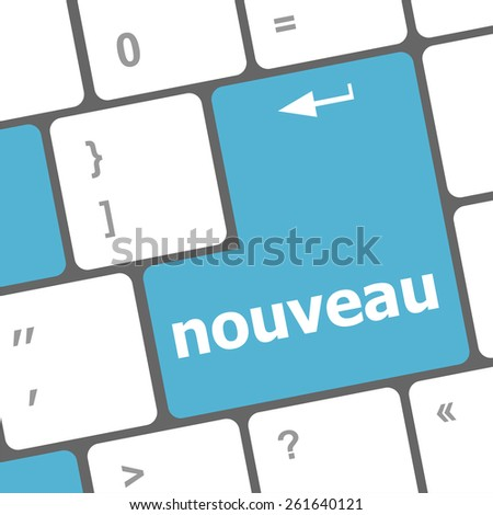 vector nouveau (new on english) button on computer keyboard key - stock vector